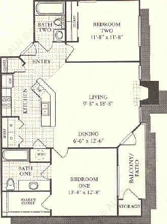 1,012 sq. ft. Moroccan floor plan