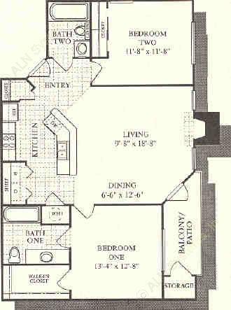 1,012 sq. ft. Moroccan floor plan