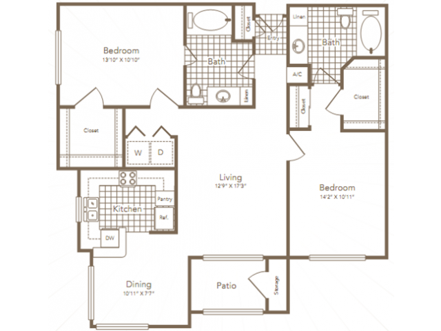 1,168 sq. ft. WORTHAM floor plan