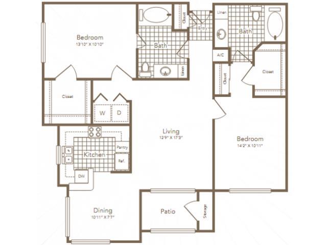 1,168 sq. ft. Wortham floor plan