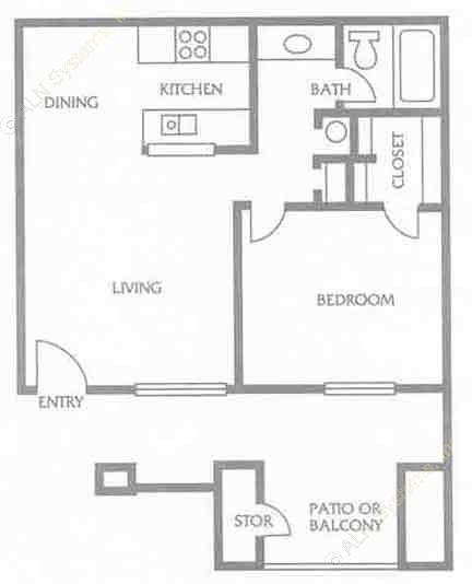 550 sq. ft. to 701 sq. ft. C floor plan