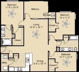 1,305 sq. ft. Wimberley floor plan