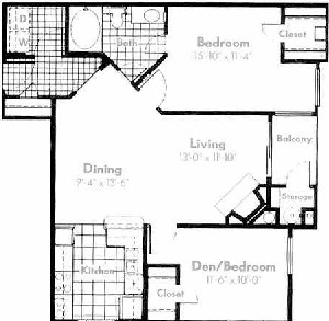 952 sq. ft. A5 floor plan
