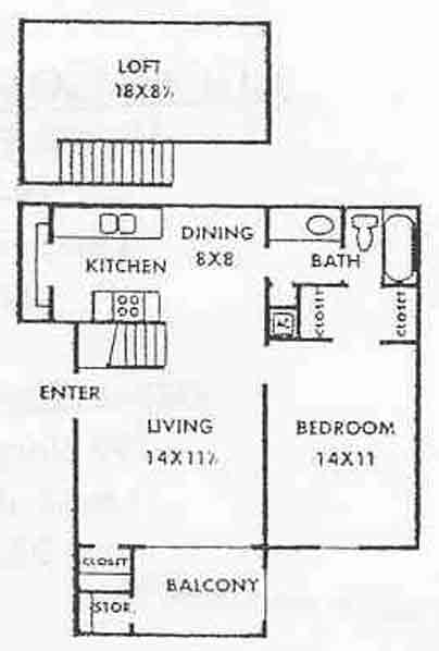 850 sq. ft. Edgewater floor plan