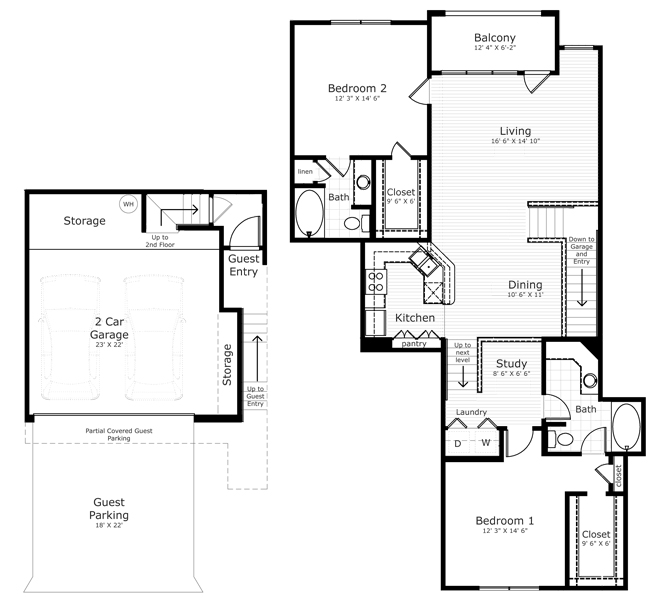 1,160 sq. ft. B7E floor plan