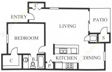 713 sq. ft. A1 floor plan