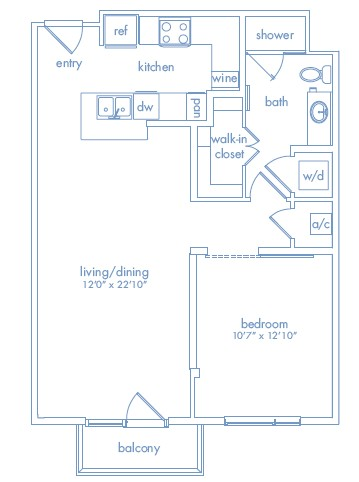 763 sq. ft. WARHOL floor plan