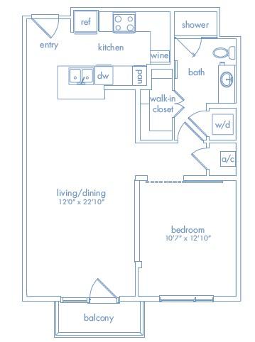 763 sq. ft. Warhol floor plan