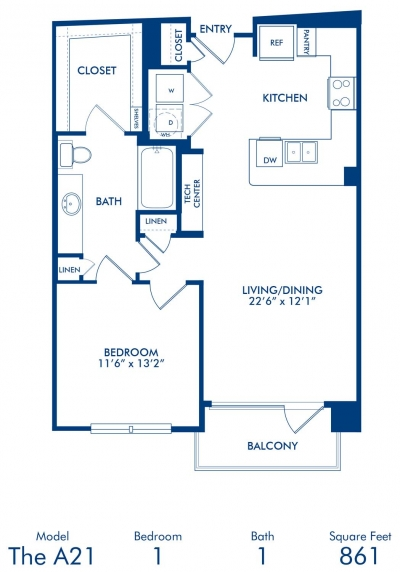 861 sq. ft. A21 floor plan