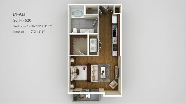520 sq. ft. E1 Alt floor plan
