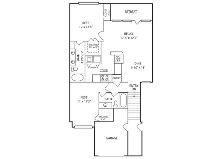 1,102 sq. ft. B floor plan