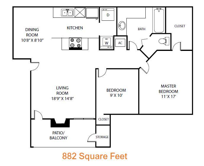 882 sq. ft. Ash floor plan