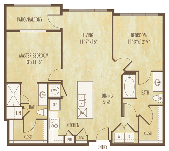 1,055 sq. ft. to 1,056 sq. ft. B1D floor plan