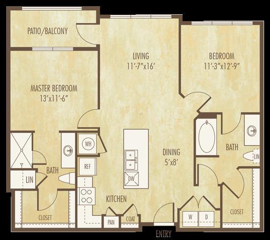 1,055 sq. ft. to 1,056 sq. ft. B1 floor plan
