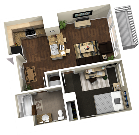 567 sq. ft. floor plan