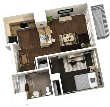 567 sq. ft. floor plan