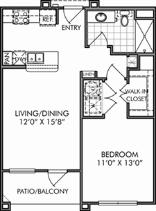 670 sq. ft. A1/A1.1 floor plan