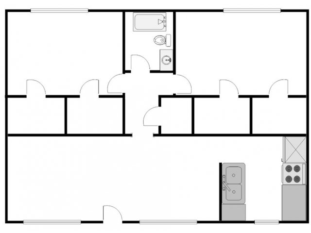 910 sq. ft. E floor plan