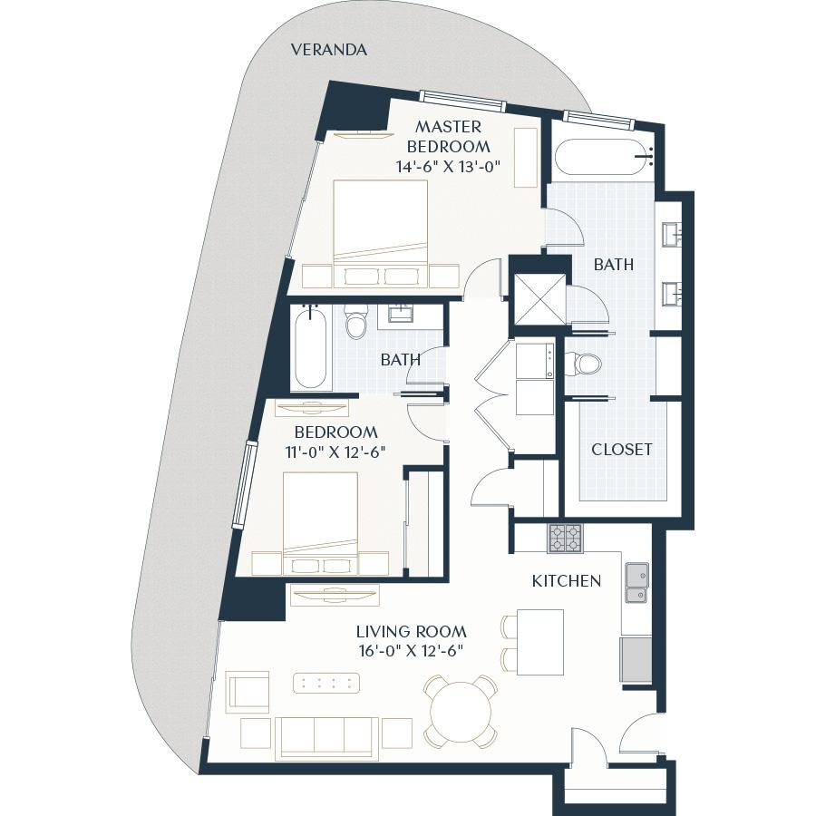1,343 sq. ft. B2 floor plan