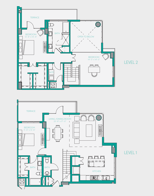 2,061 sq. ft. PH 1 floor plan