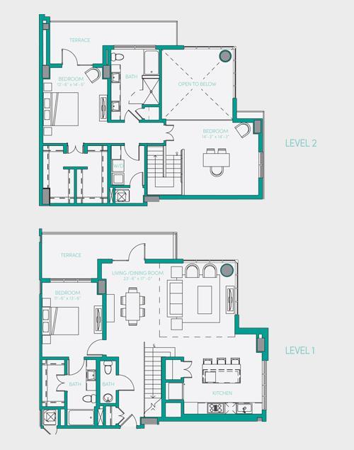 2,061 sq. ft. PH 1 floor plan
