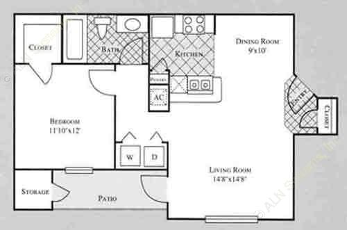 705 sq. ft. ROSE floor plan