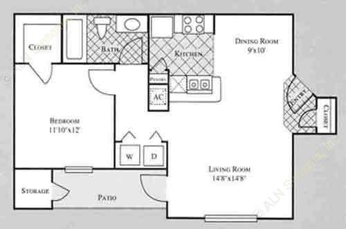 705 sq. ft. ROSE floor plan