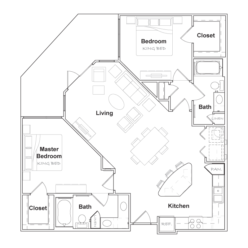 1,131 sq. ft. B2-A floor plan