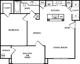 705 sq. ft. Clapton floor plan