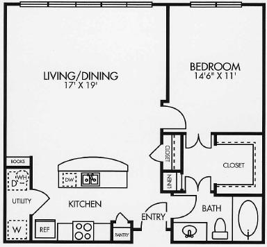 861 sq. ft. A5LOF floor plan