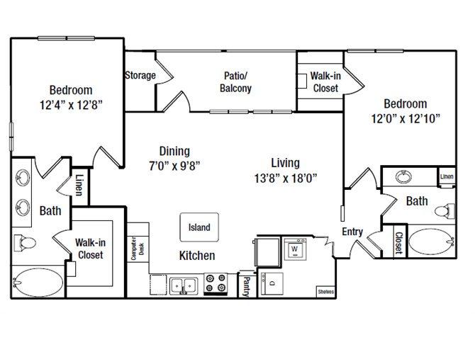 1,089 sq. ft. B5G floor plan