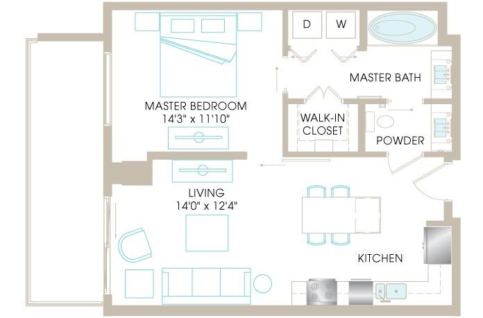 750 sq. ft. H12 floor plan