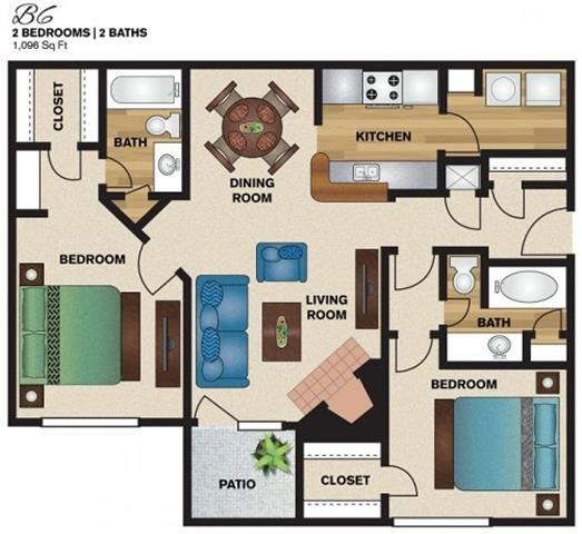 1,096 sq. ft. B6 floor plan