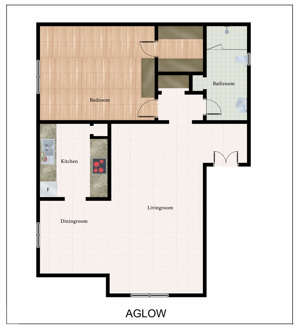 701 sq. ft. Aglow floor plan