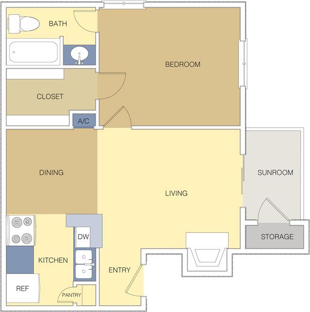 614 sq. ft. A3 floor plan