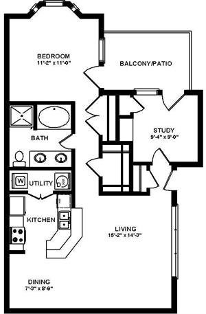 918 sq. ft. A4 floor plan