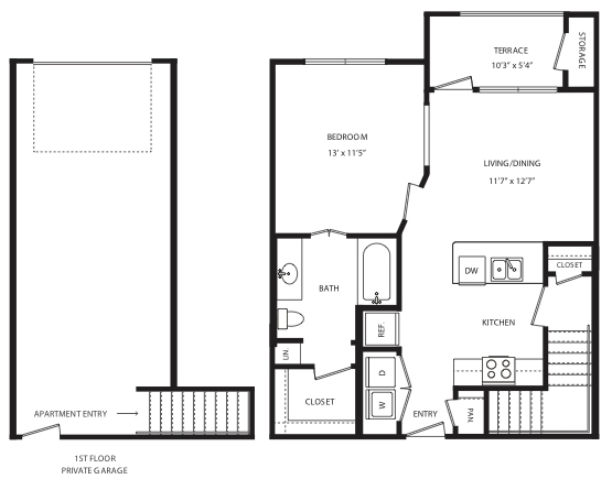 698 sq. ft. A3/A4 floor plan