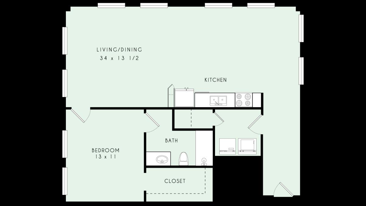 1,058 sq. ft. A26 MKT floor plan