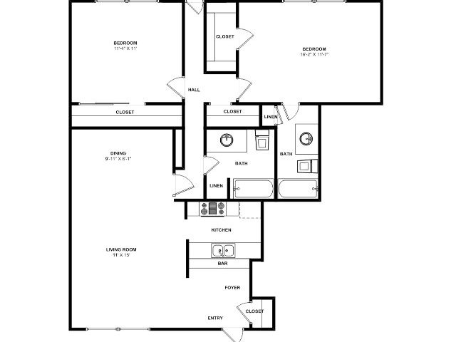 925 sq. ft. B6 floor plan