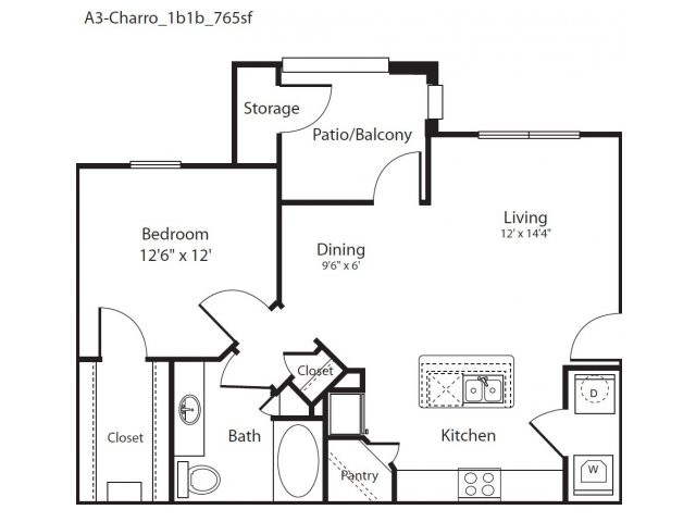 765 sq. ft. Charro floor plan