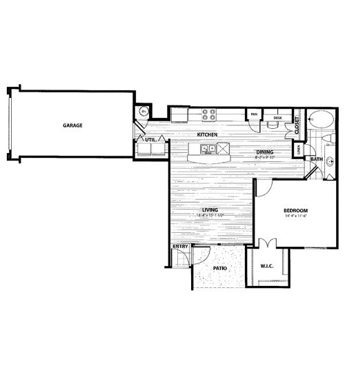 835 sq. ft. C1 floor plan