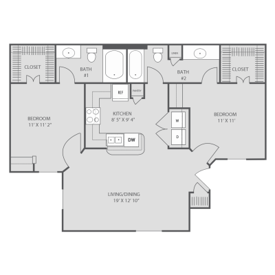 934 sq. ft. B1 floor plan