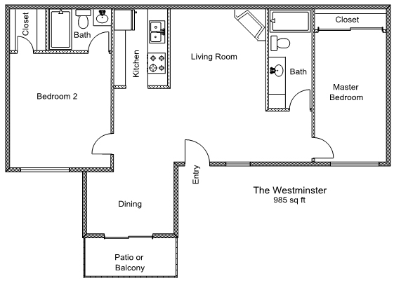 985 sq. ft. B2 floor plan