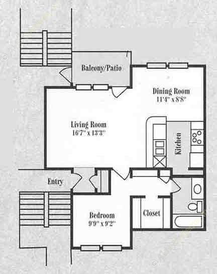 897 sq. ft. A2 floor plan