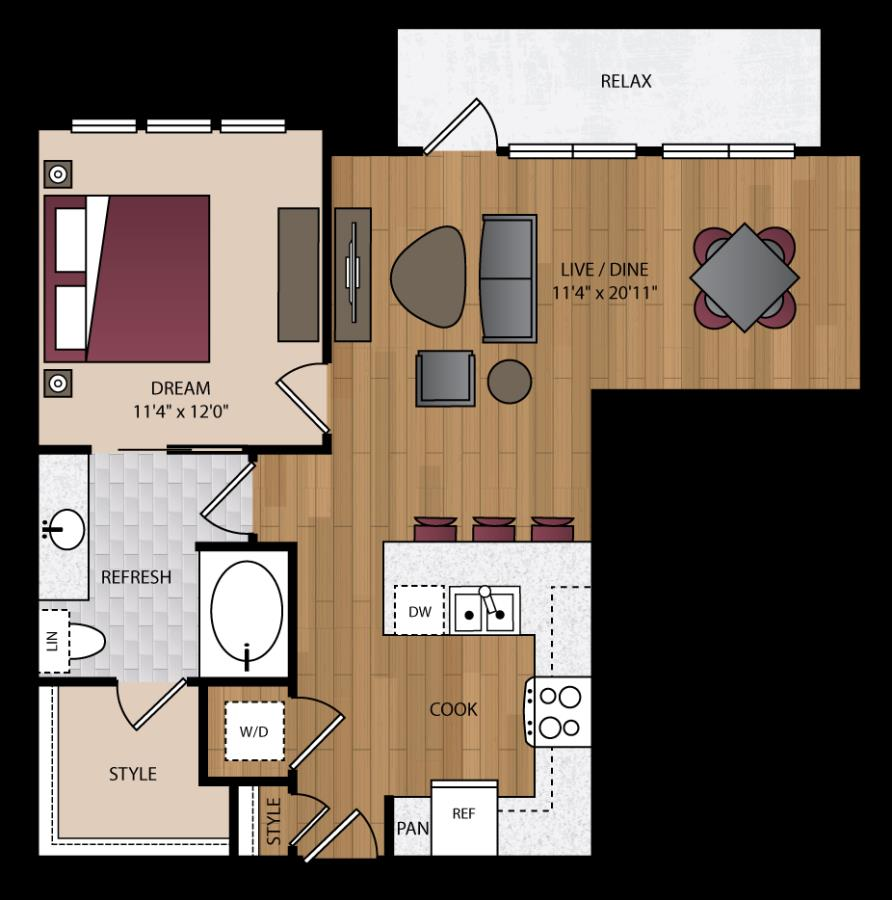 794 sq. ft. A1.3 floor plan