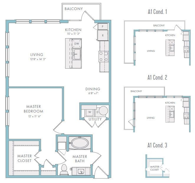 812 sq. ft. A1A floor plan