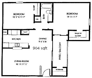 904 sq. ft. B1 floor plan