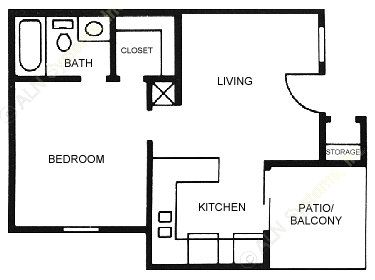 487 sq. ft. A1 floor plan