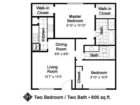 806 sq. ft. B1 floor plan