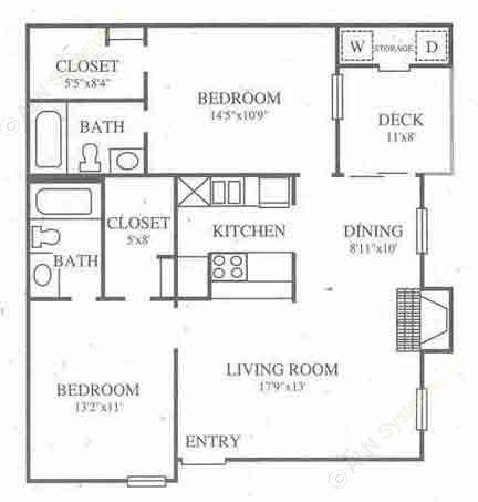 1,078 sq. ft. B3 Classic floor plan